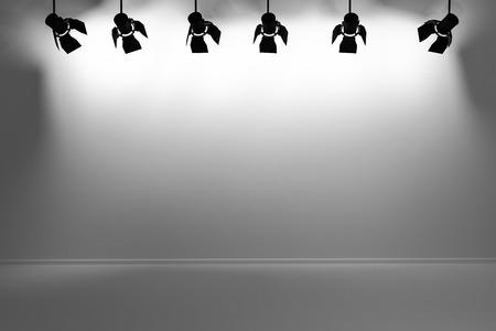 spotlight white background: bright spotlights illuminate empty grey wall 3d illustration