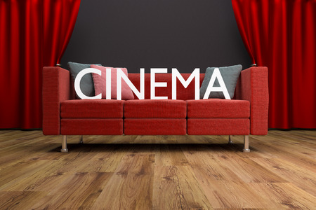 red couch: red couch in front of large cinema curtain interior illustration