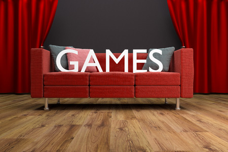 red couch: red couch games in front of large cinema curtain games interior illustration