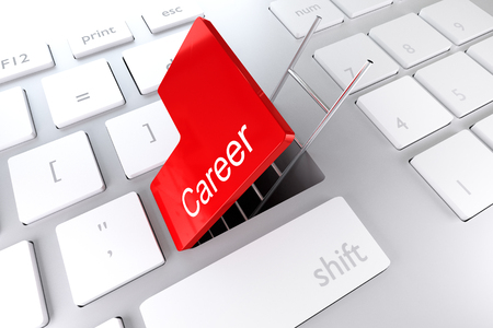 underpass: red enter key open with ladder in underpass career illustration Stock Photo