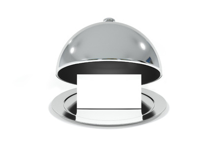 roomservice: opened silver cloche with white sign illustration