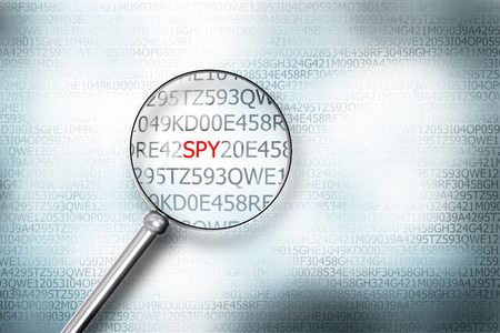 sourcecode: reading word spy on digital computer screen with a magnifying glass internet security