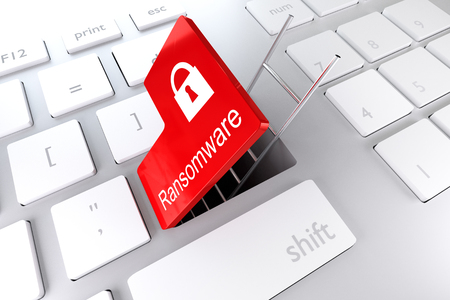 company secrets: computer keyboard with red enter key hatch underpass ladder ransomware 3D illustration