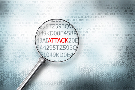 sourcecode: reading the word hacker on digital computer screen with a magnifying glass attack 3D Illustration