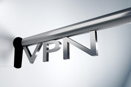 vpn: metal key server lock keyhole vpn 3D illustration