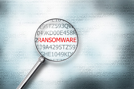 reading ransomware digital computer screen magnifying glass 3D Illustration Stock Photo