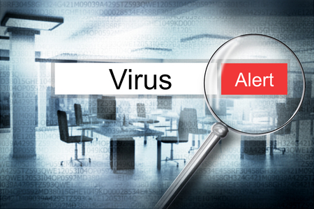 hacked: reading the word virus browser search security alert 3D Illustration