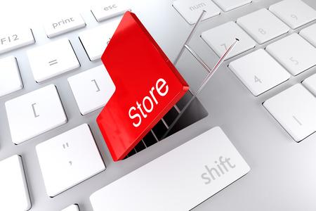 unlawful: computer keyboard red enter key ladder store 3D Illustration
