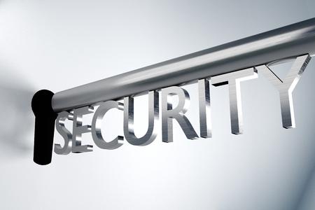 ftp servers: metal key security lock keyhole secure 3D Illustration Stock Photo