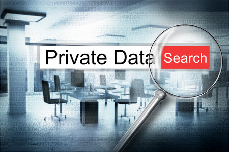 private data: reading private data browser search security alert 3D Illustration Stock Photo