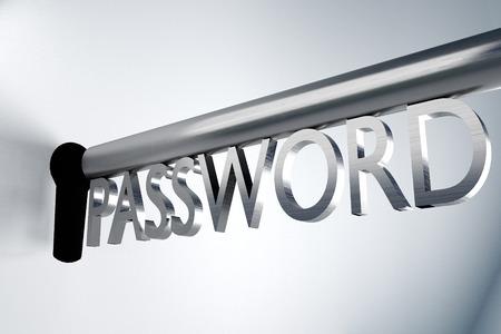 ftp servers: metal key password lock keyhole secure 3D Illustration Stock Photo