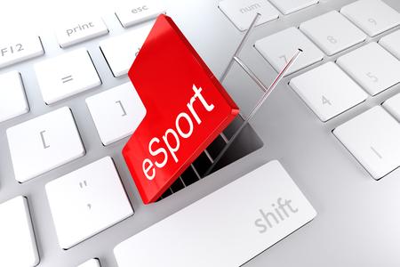 red enter key ladder underpass esport 3D Illustration