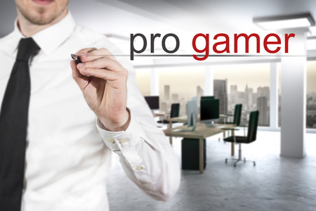 bandwith: businessman in modern office writing pro gamer