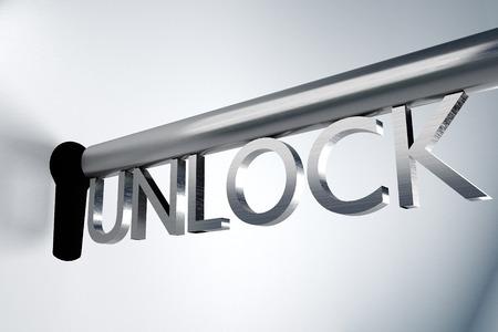 ftp servers: metal key unlock keyhole secure 3D Illustration Stock Photo