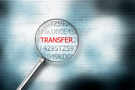 sourcecode: reading transfer on screen magnifying glass 3D Illustrastion Stock Photo