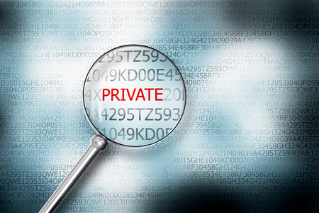reading private on screen magnifying glass 3D Illustrastion Stock Photo