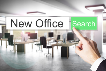 new opportunity: websearch new green search button modern office 3D Illustration Stock Photo
