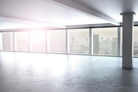 residental: large clean designer office window to skyline 3D Illustration