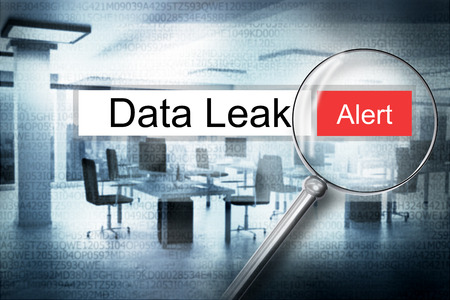 sourcecode: magnifier websearch data leak alert modern office 3D Illustration Stock Photo