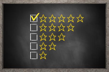 critique: golden rating stars black chalkboard 3D Illustration