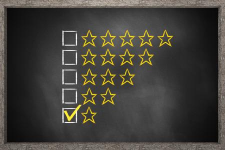 critique: golden rating one star black chalkboard 3D Illustration
