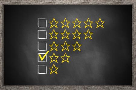 critique: golden rating two stars black chalkboard 3D Illustration