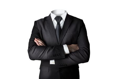 Biznesmen garnitur bez głowy izolowane skrzyżowane ramiona