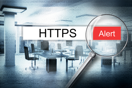 https: reading the word https browser search 3D Illustration