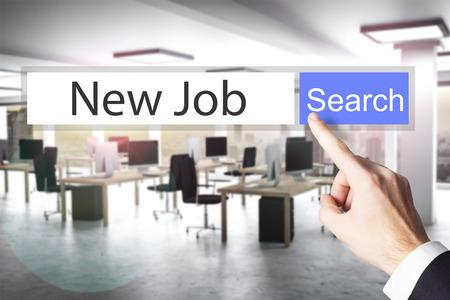 websearch nieuwe baan blauwe zoekknop moderne kantoor 3D-afbeelding