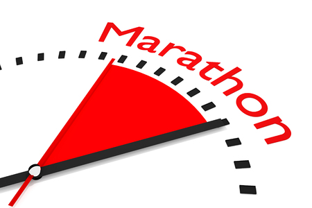 seconds: clock with red seconds hand area marathon 3D Illustration  Stock Photo