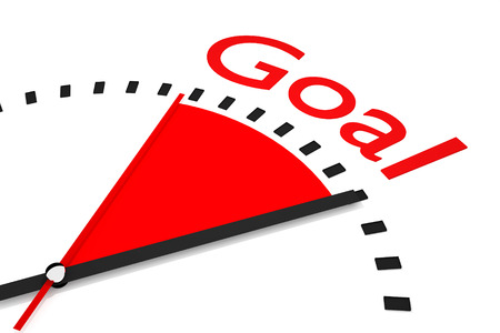 thrusting: clock with red seconds hand area goal 3D Illustration  Stock Photo