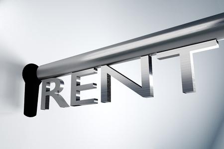 lock and key: metall key lock keyhole rent 3D Illustration