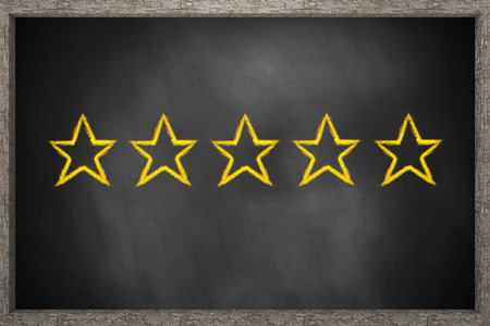 hotel reviews: five gold stars black chalkboard 3D Illustration