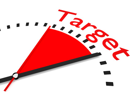 thrusting: clock with red seconds hand area target 3D Illustration  Stock Photo