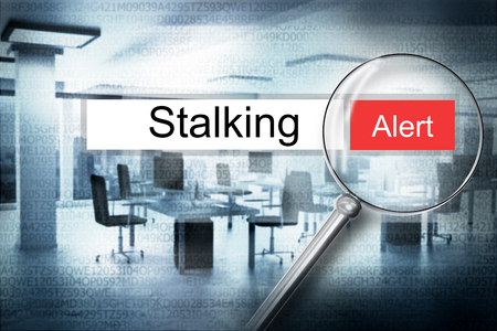 cyberwar: reading the word stalking browser search security alert 3D Illustration
