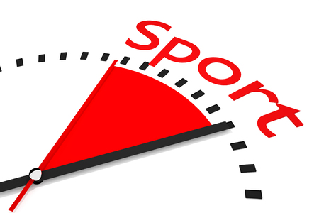seconds: clock with red seconds hand area sport 3D Illustration