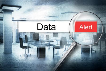 stalker: reading the word data browser search alert 3D Illustration