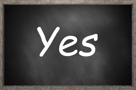 approbation: yes written on black chalkboard 3D Illustration Stock Photo