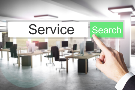 downtime: websearch service green search button modern office 3D Illustration
