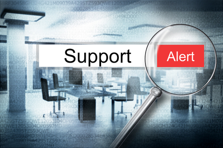 sourcecode: reading the word support browser search security alert 3D Illustration