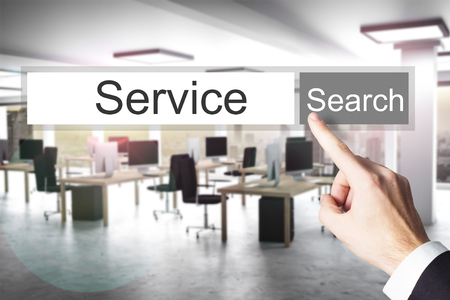 downtime: websearch service grey search button modern office 3D Illustration