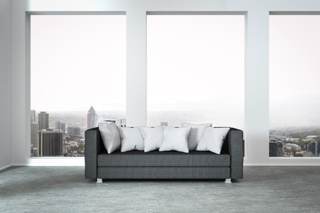 luxury apartment: grey couch in modern luxury; apartment huge window with panoramic view 3D Illustration