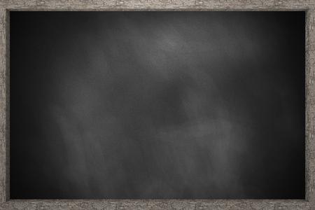 Dark dirty blackboard with background wooden frame