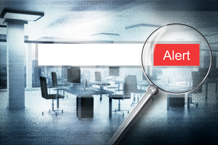 magnifier scan web search bar alert button with modern office background 3D Illustration Reklamní fotografie - 116294964
