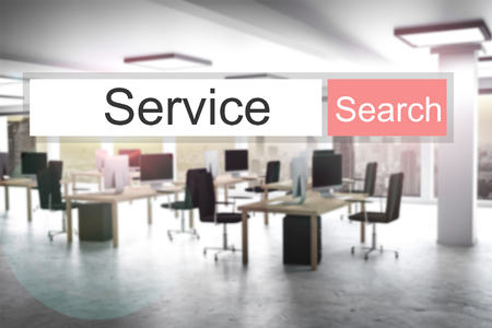 web search service red search button modern office 3D Illustration