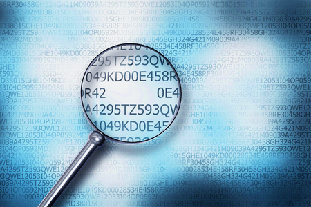 reading on digital computer screen with a magnifying glass internet security 3D Illustration