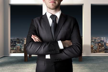 businessman in large modern apartment crossing arms gesture 3D Illustration Foto de archivo