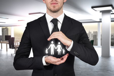 businessman protecting family paper cut with his hands 3D Illustration