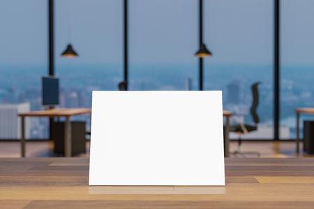 mock up blank sign on wooden desk in large modern office 3D illustration 版權商用圖片