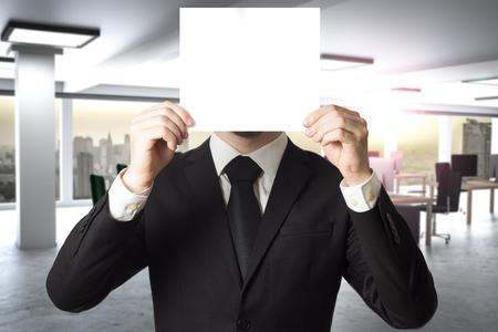 businessman in large modern office hides face behind sign 3D Illustration